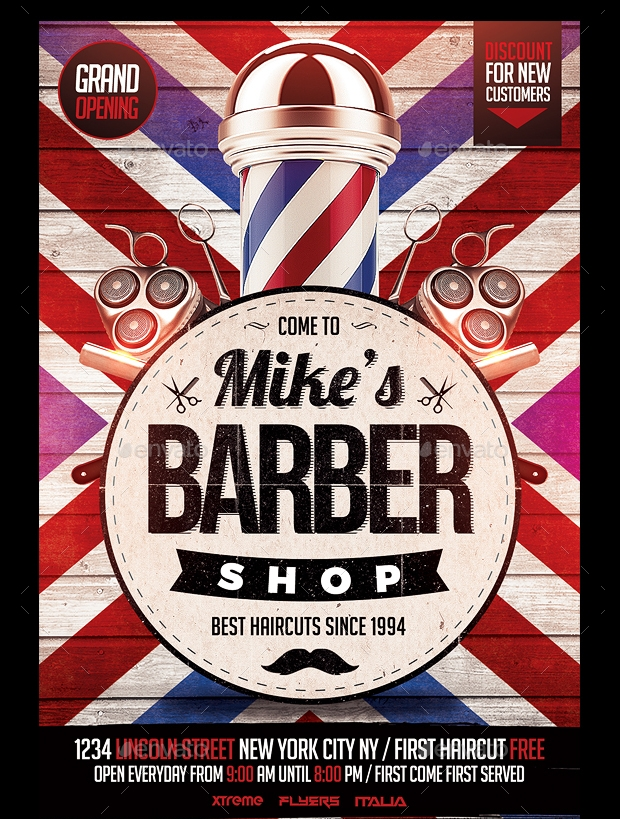 Barbershop Flyer Template  Printable Psd Ai Vector Eps Format