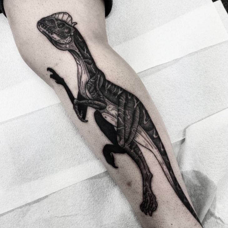 Black and White Dinosaur Tattoo