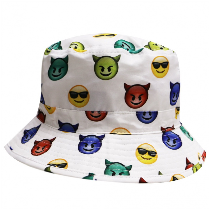 White Emoji Bucket Hat