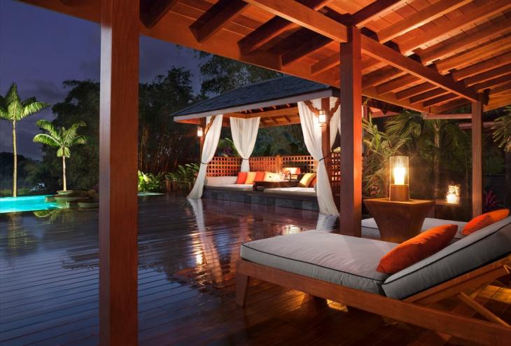 tropical wooden deck design