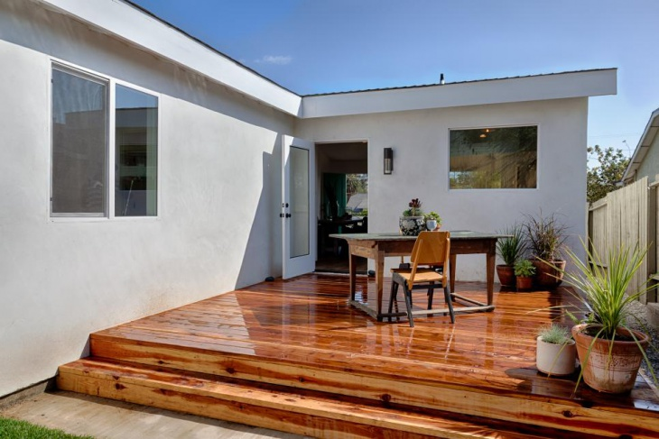 small exterior wood deck design