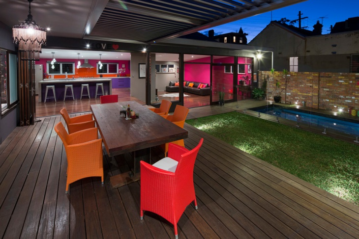 courtyard wooden deck design
