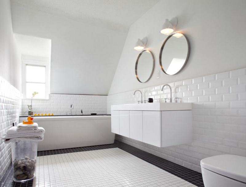 Contemporary Bathroom With Vaulted Ceiling