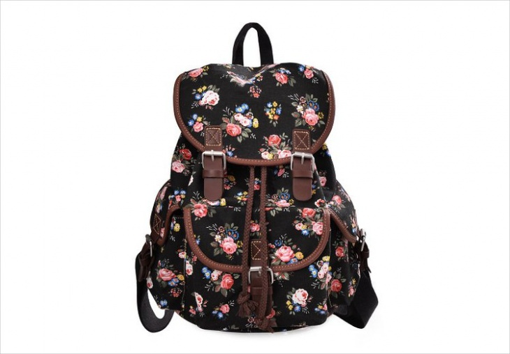 black floral backpack design