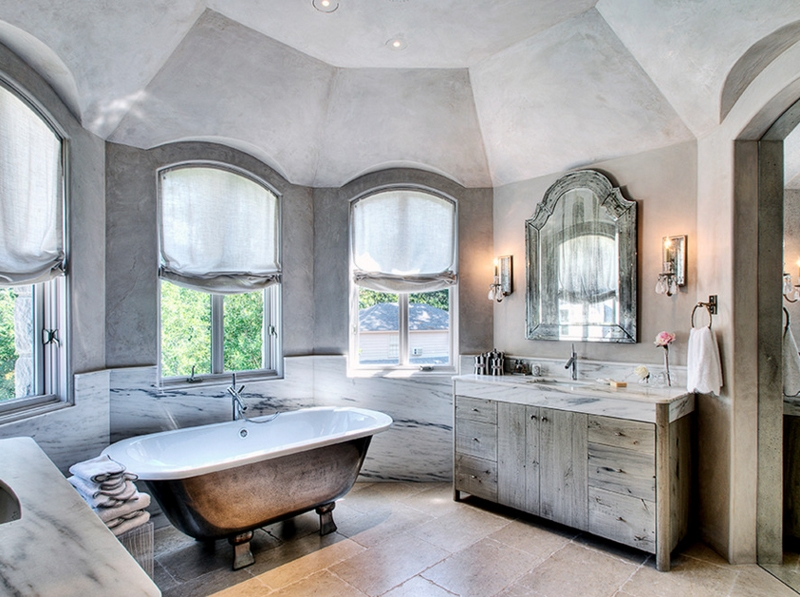 Mediterranean Vaulted Ceiling Bathroom