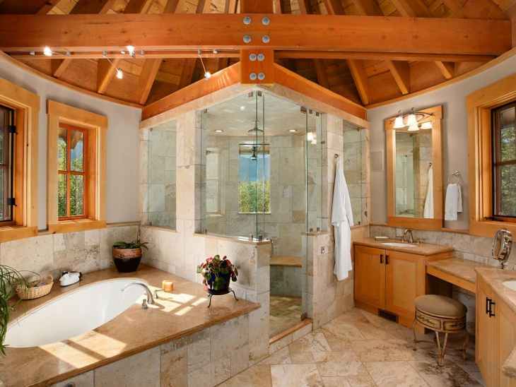 Vaulted Wood Ceiling Bathroom
