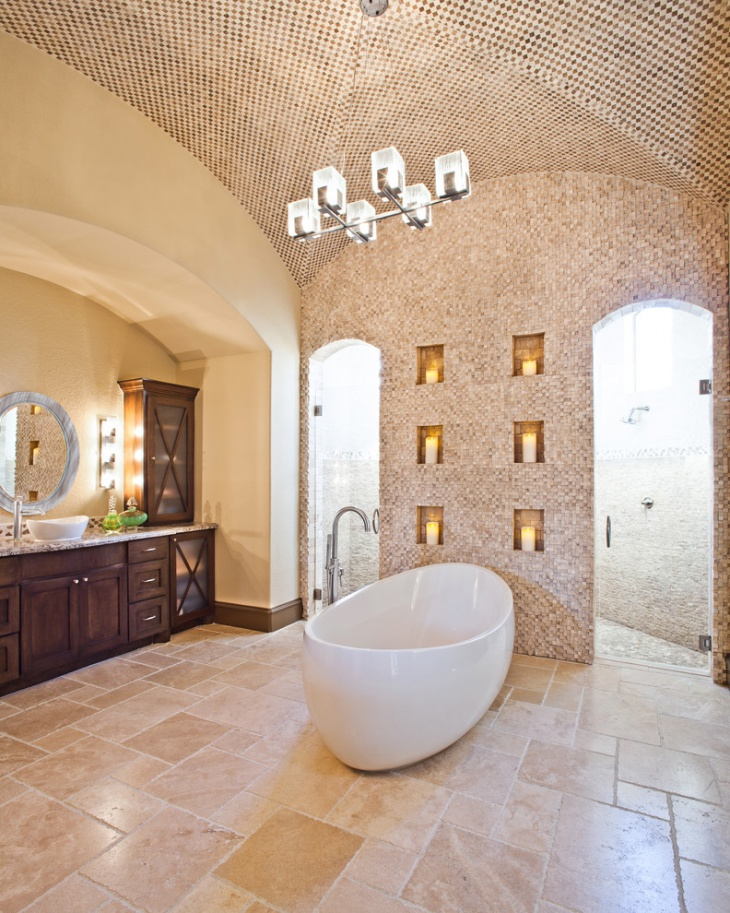 Mosaic Vaulted Ceiling Bathroom