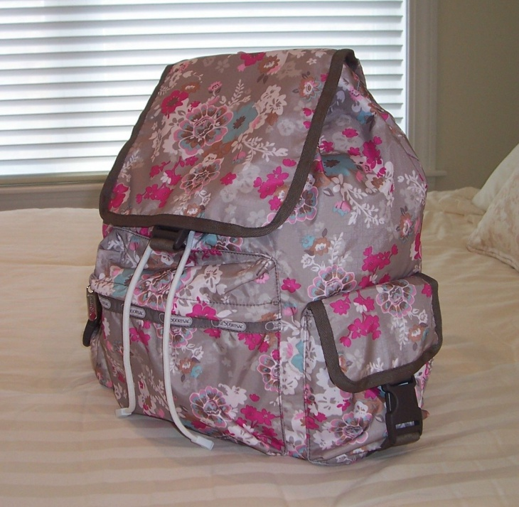 retro style floral backpack design