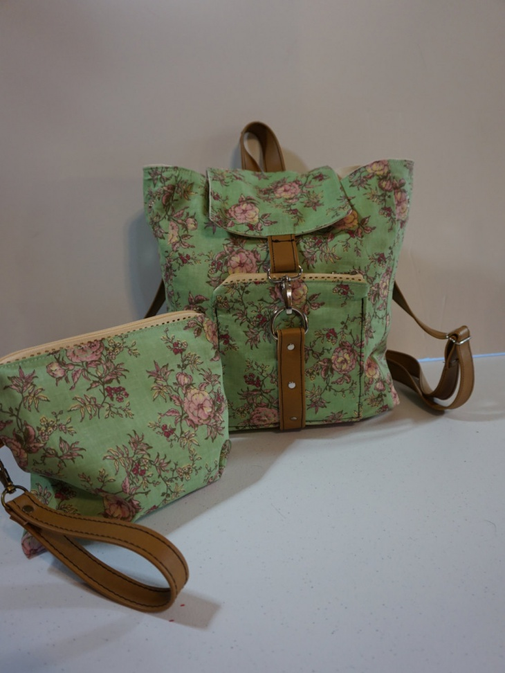 green floral backpack bag