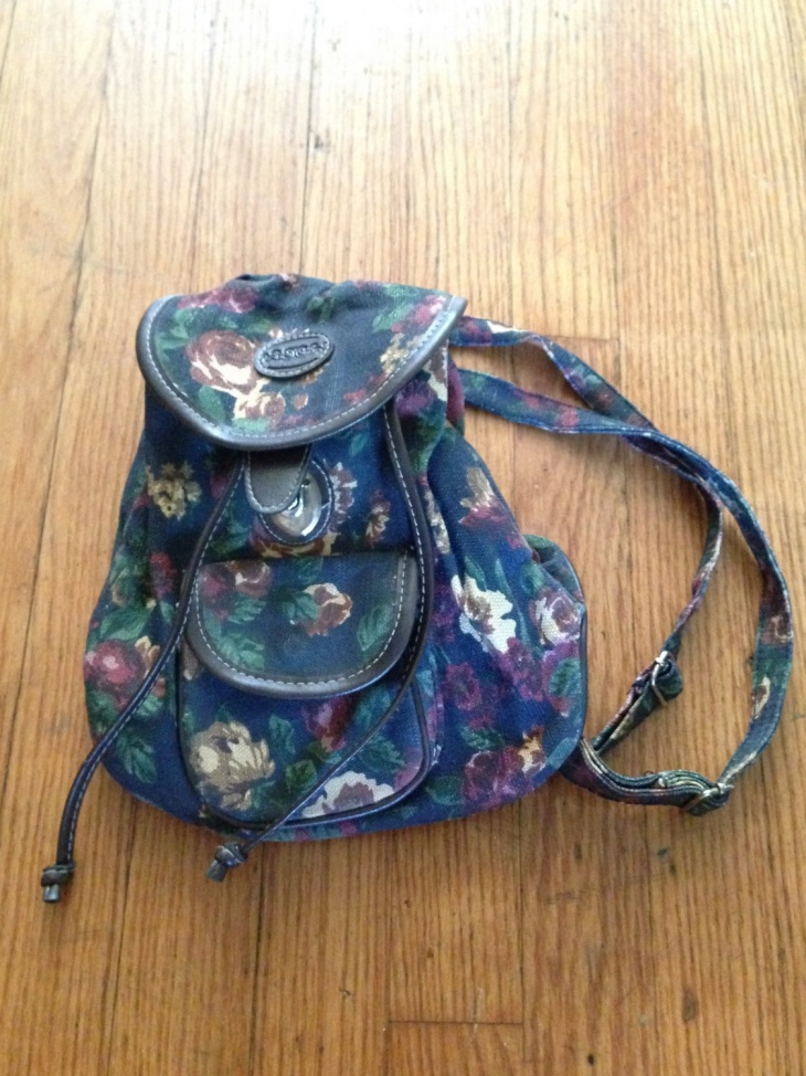 drawstirng floral backpack bag