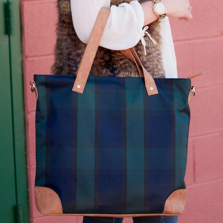 plaid tote handbag