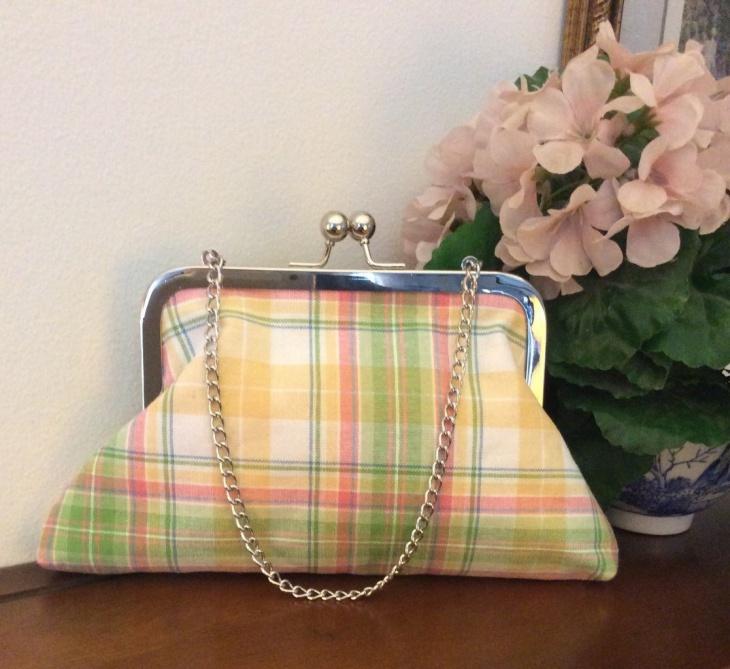 plaid fabric handbag