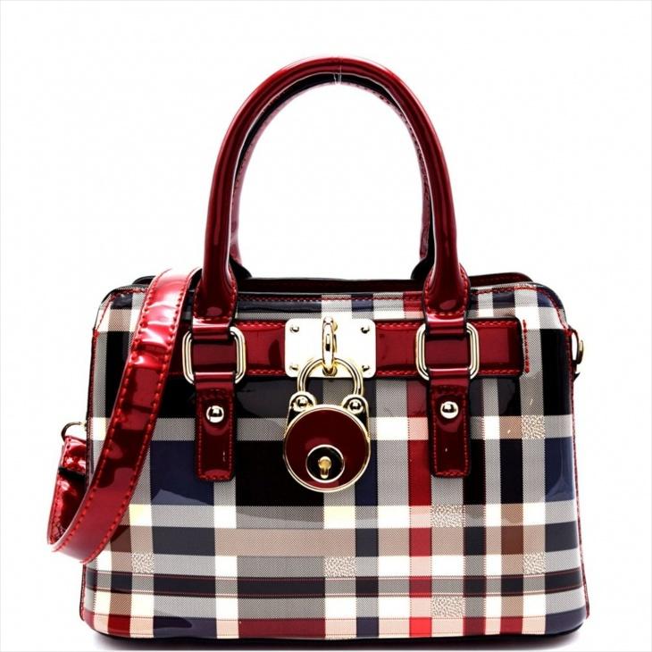 plaid satchel handbag design