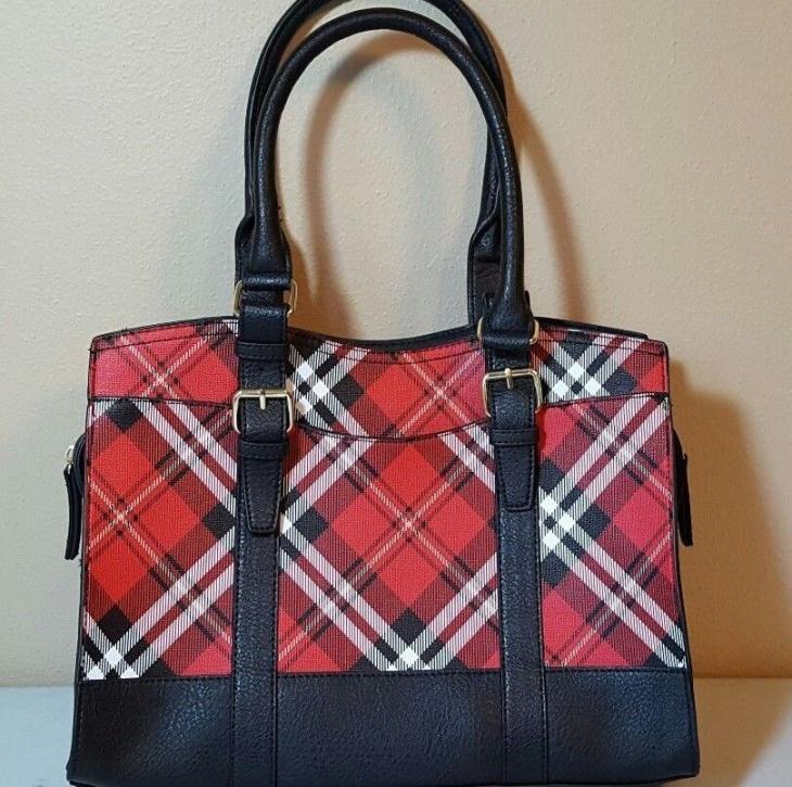 Black Leather and Plaid Handbag
