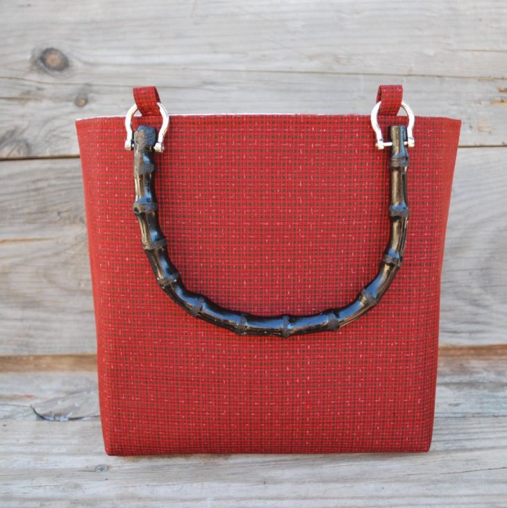 Exquisite Silk Red Plaid Handbag
