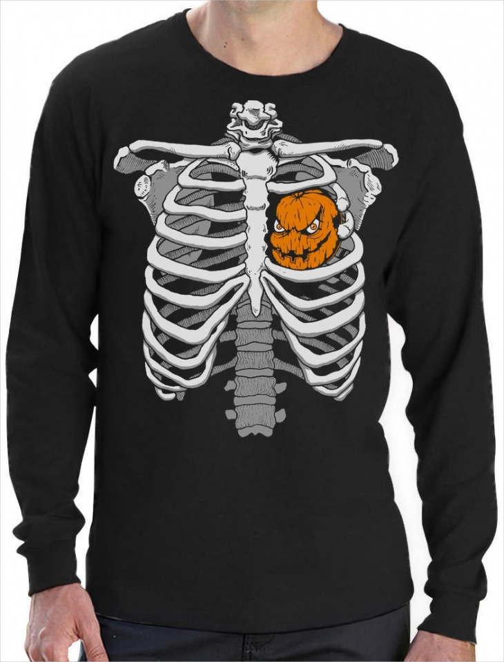skeleton with heart t shirt