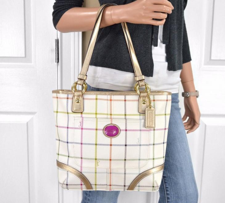 white plaid handbag