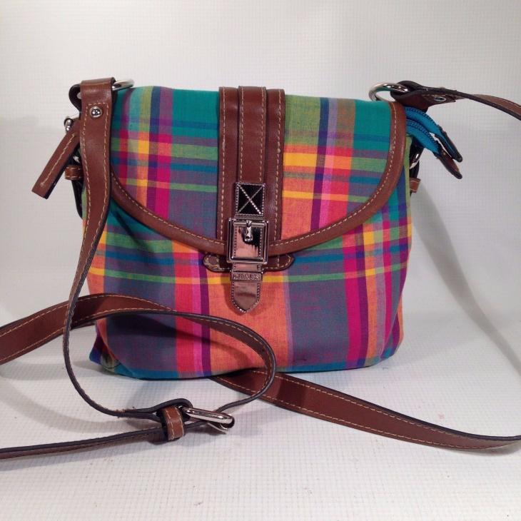 Plaid Canvas Brown Faux Handbag