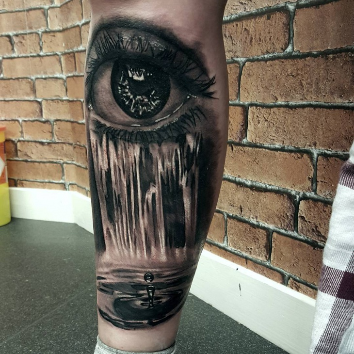 Black and White Waterfall Tattoo