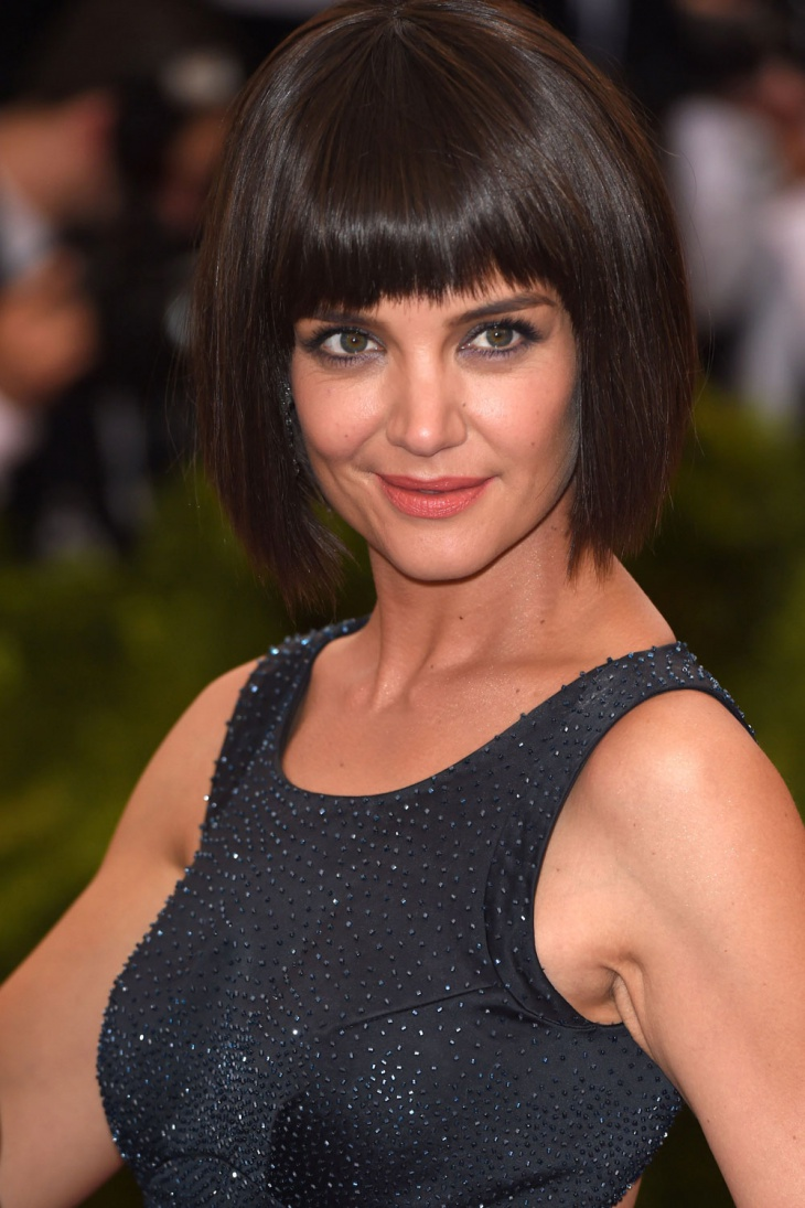 katie holmes brunette bob with bangs