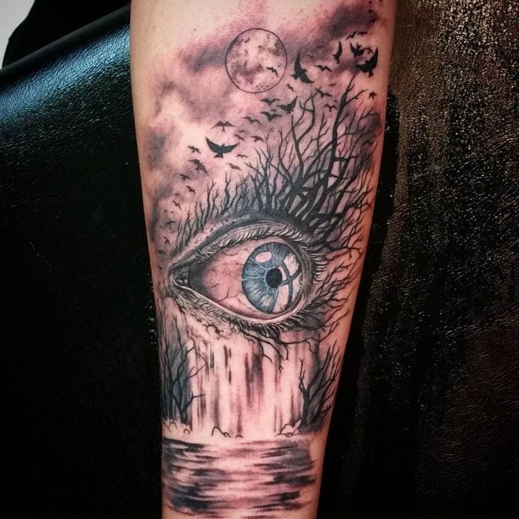 Eye Waterfall Tattoo Idea