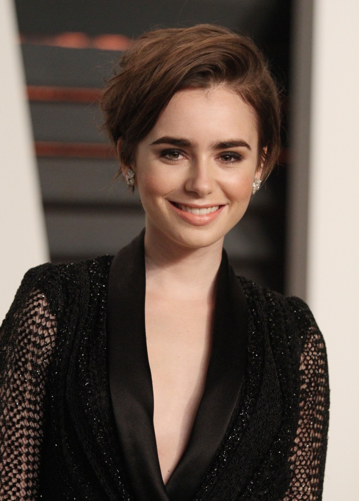 lily collins brunette pixie bob hairstyle