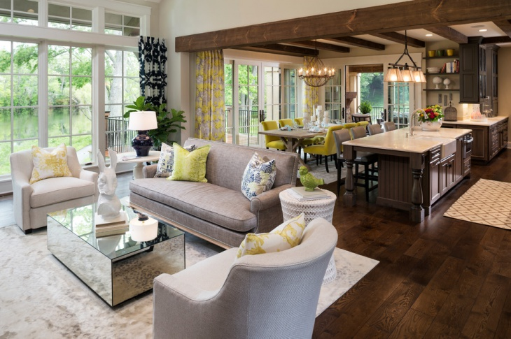 French Country Living Room and Dining Idea