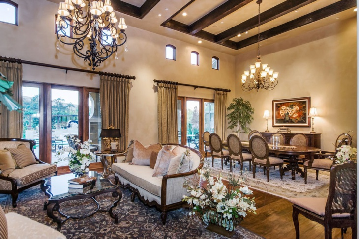 Tuscan Living Room and Dining Design