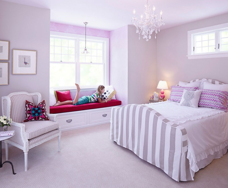 teenage girl bedroom with chandelier idea