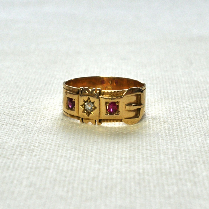 ruby and diamond buckle ring