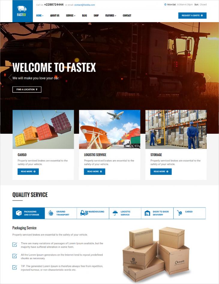 Amazing Parallax Logistics Transport Joomla Theme