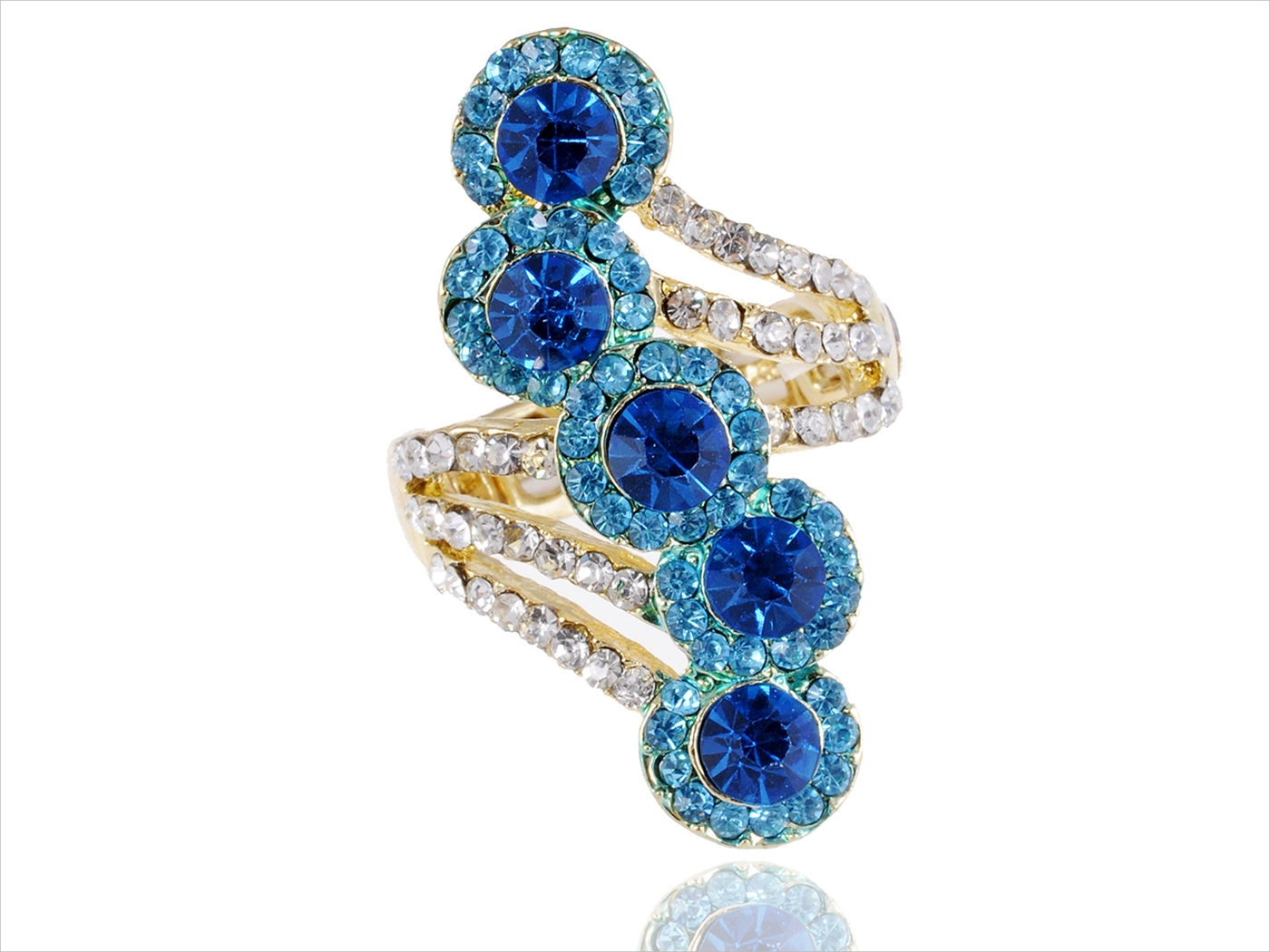 blue wave crystal ring