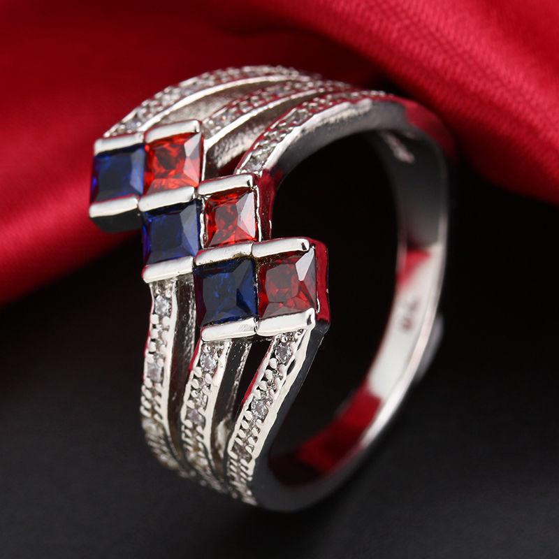 blue and red crystal wave ring