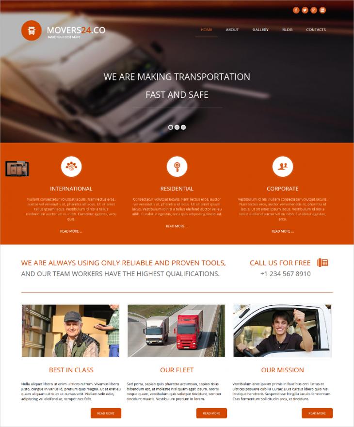 Full Featured Transportation Company Joomla Theme