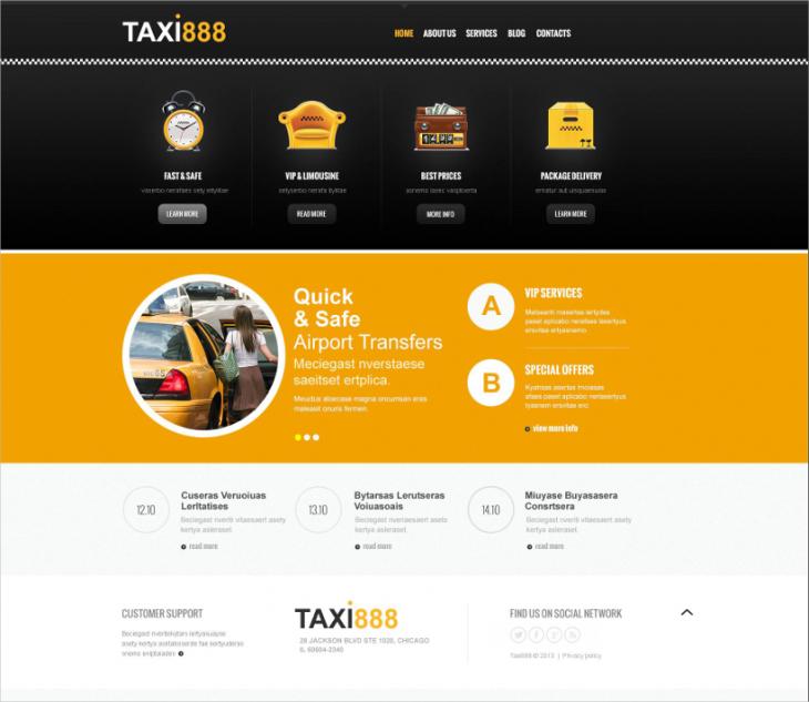 Custom Page Taxi Transportation Joomla Template