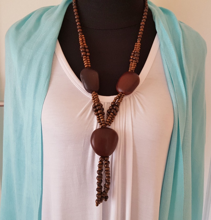 brown chunky wooden hippie jewelry
