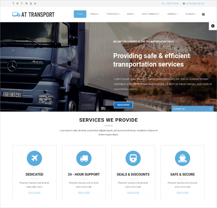 boxed layout transport joomla template