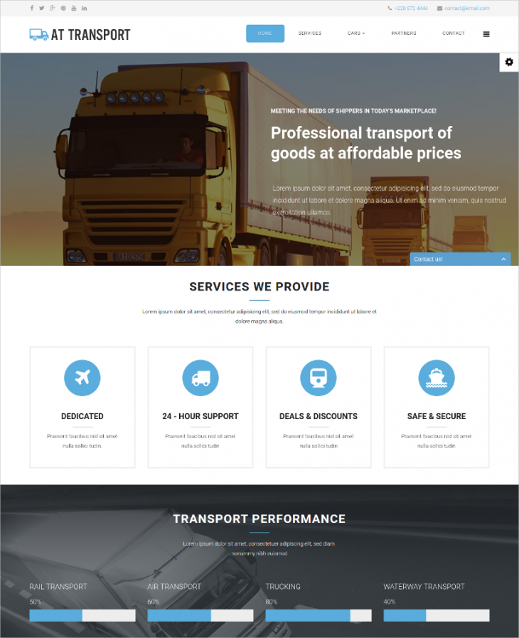 one page transportation joomla theme