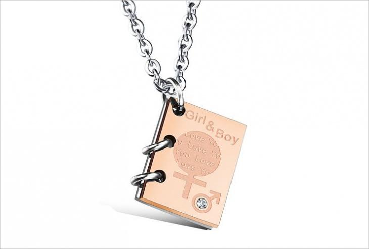 rose gold book pendant