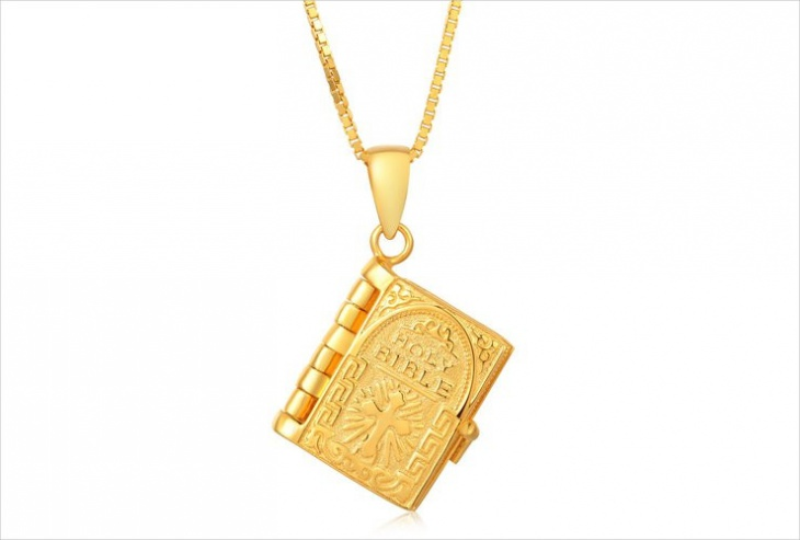 Gold Holy Bible Book Pendant