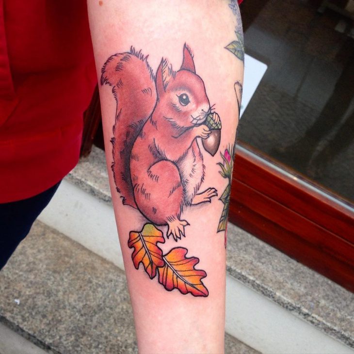 Squirrel Tattoo on Forearm