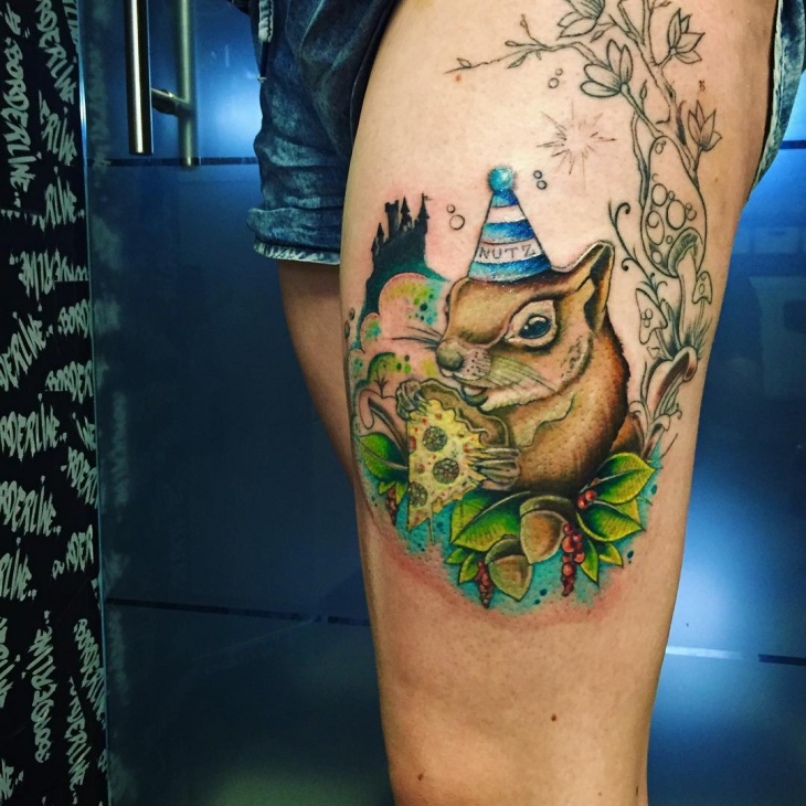 Colorful Squirrel Tattoo on Thigh