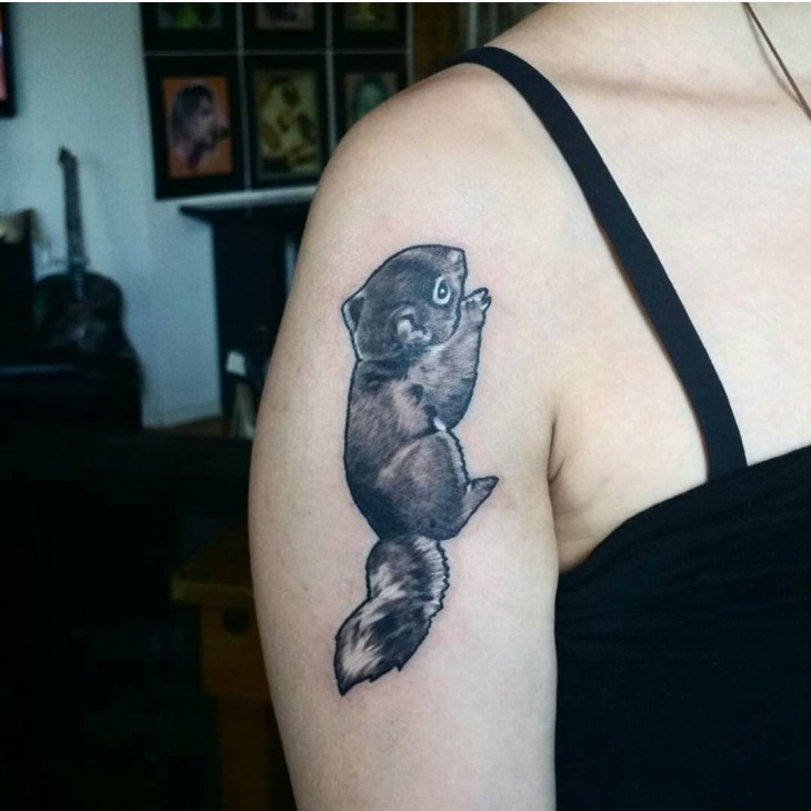 Squirrel Shoulder Tattoo for Women