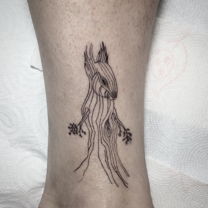 Line Work Squirrel Tattoo
