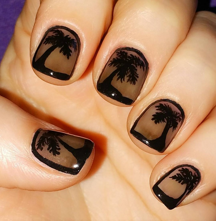 Black Palm Tree Nail Art