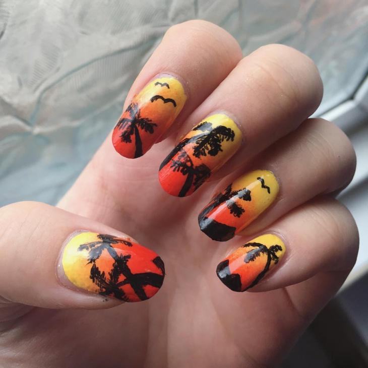 Palm Tree Sunset Nail Art Design