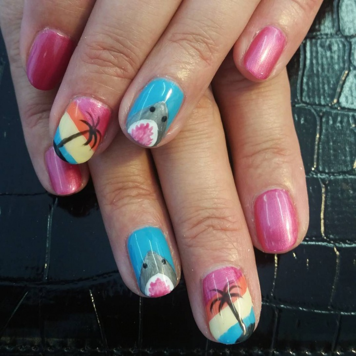 Multi Color Palm Tree Nails