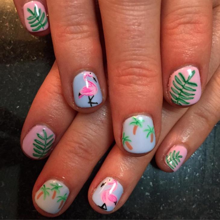 Palm Tree Nail Paint Art