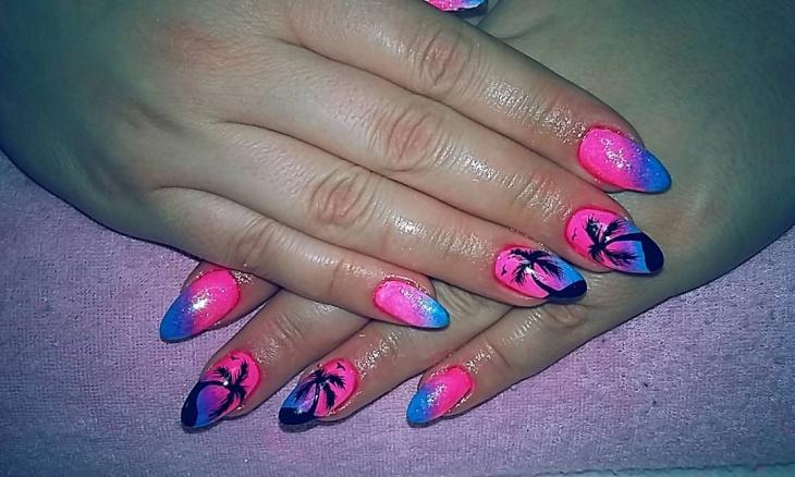 Pink Palm Tree Nail Art