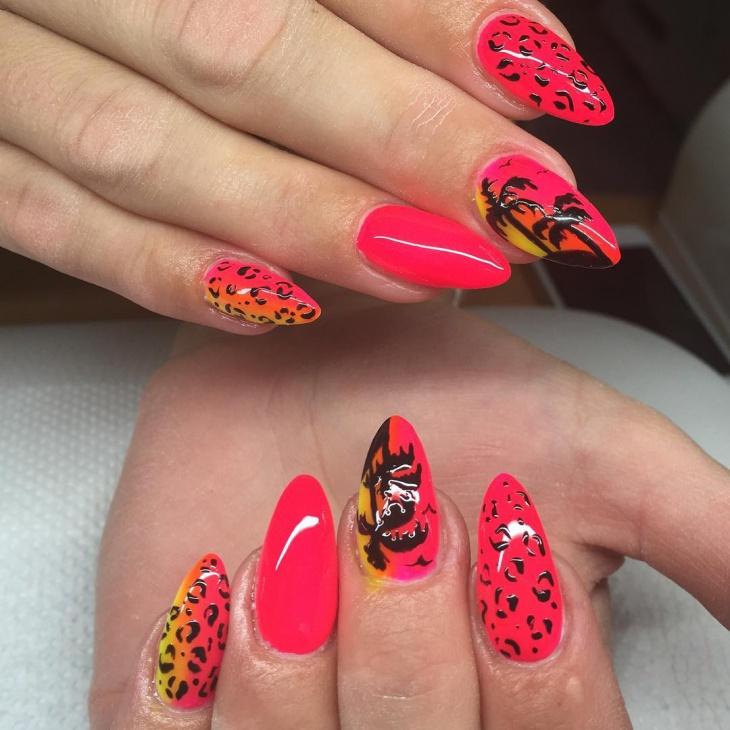 leopard palm tree nail art